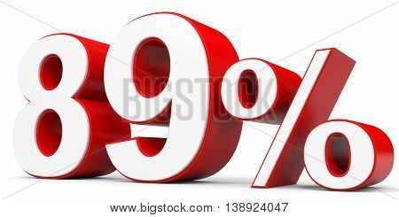 Discount 89 percent off on white background. 3D illustration.