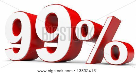 Discount 99 percent off on white background. 3D illustration.