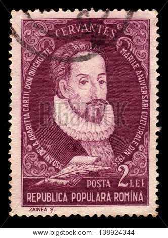 ROMANIA - CIRCA 1955: A stamp printed in Romania shows portrait of Miguel de Cervantes Saavedra, spanish writer, circa 1955