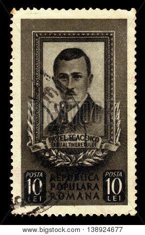 ROMANIA - CIRCA 1951: A stamp printed in Romania shows portrait of Pavel Tcacenco or Tkachenko, russian-born romanian communist activist, a leading member of the communist movements of Bessarabia and Romania, circa 1951