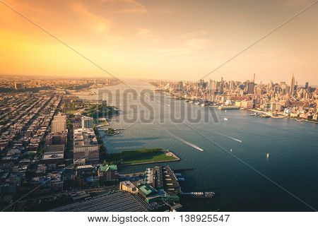 Looking up the Hudson River in New York City
