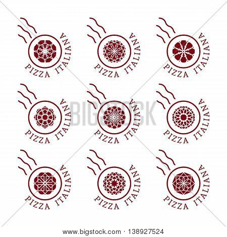 Pizzeria logo templates with text Italian pizza in Italian. Vector emblems for restaurants, cafe, Italian Cuisine or pizza delivery