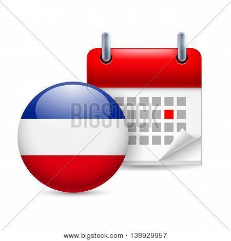 Calendar and round Yugoslavian flag icon. National holiday in Yugoslavia