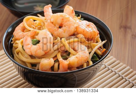 Prawn Chow Mein or Lo Mein stir fried prawns with egg noodles vegetables and bean sprouts
