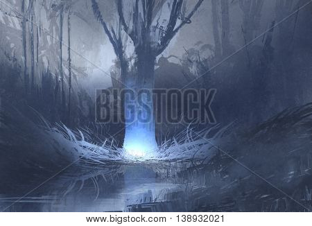 night scene of spooky forest with swamp, illustration painting