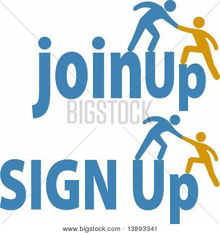 Mitglied hilft Menschen Sign Up Gruppe beitreten Icon.eps
