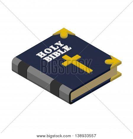 Holy Bible isometrics. Religious book. New Testament. Old psalterium god.