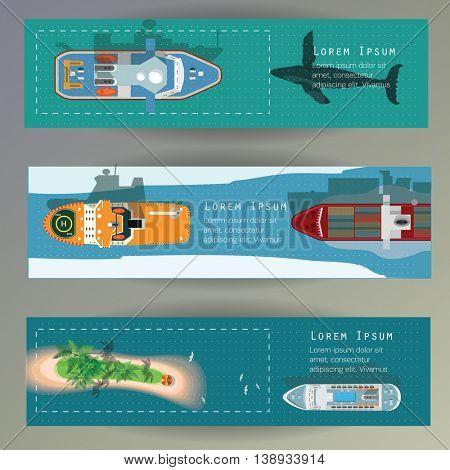 Sea Ships top view vector web banner set