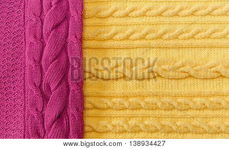Yellow;Pink Knitted Items with Braids and Pattern.Hand Made;Fancywork.Background