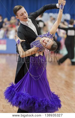 Minsk Belarus -May 28 2016: Kruk Timofey and Konopleva Diana Perform Youth-2 Standard Program on National Championship of the Republic of Belarus in May 28 2016 in Minsk Belarus
