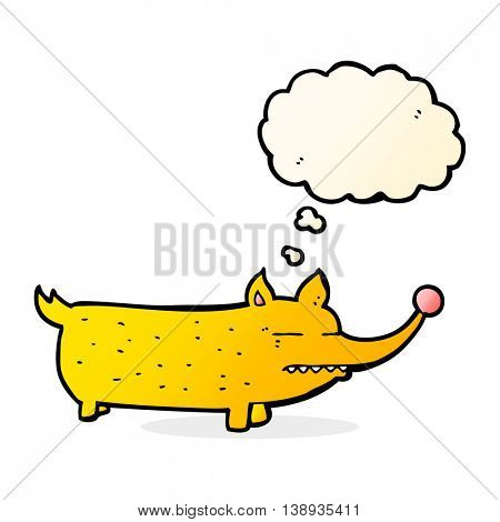 cartoon funny little dog with thought bubble