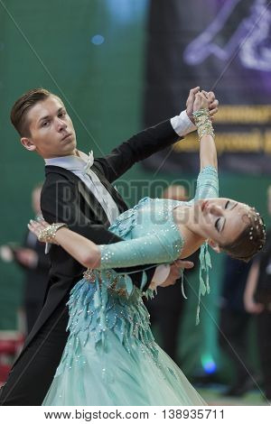 Minsk Belarus -May 28 2016: Bloshnyanica Dmitry and Belmach Kseniya Perform Youth-2 Standard Program on National Championship of the Republic of Belarus in May 28 2016 in Minsk Belarus