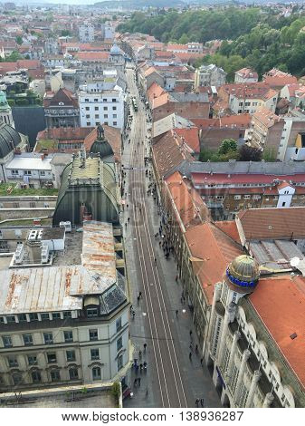 ZAGREB, CROATIA - APRIL 26th, 2016: View of Zagreb's Lower Town and Ilica stret which is one of the longest streets in Zagreb and considered to be the most expensive residential street in the city.