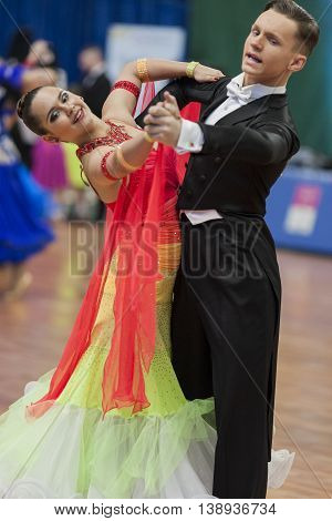 Minsk Belarus -May 28 2016: Ksenzhik Pavel and Stanislavchik Mariya Perform Youth-2 Standard Program on National Championship of the Republic of Belarus in May 28 2016 in Minsk Republic of Belarus