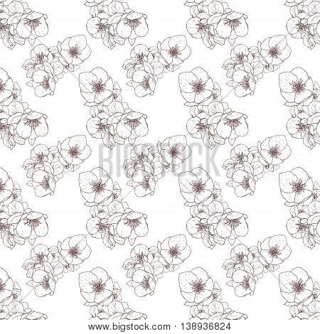Handpaint seamless floral contour pattern with  bouganvillea flowers