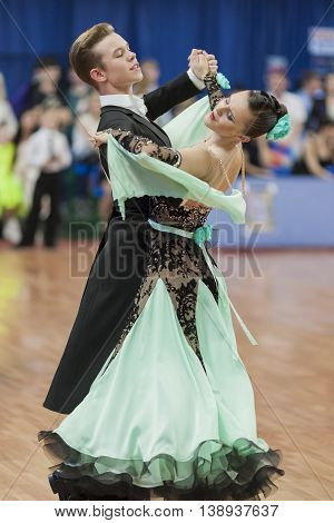 Minsk Belarus -May 28 2016: Zelenskiy Ivan and Lantuhova Anna Perform Youth-2 Standard Program on National Championship of the Republic of Belarus in May 28 2016 in Minsk Republic of Belarus