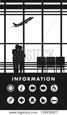 vector illustration of the airport building waiting room large picture window, people silhouettes, mourners, vertical poster, an information board with icons and text Black and white