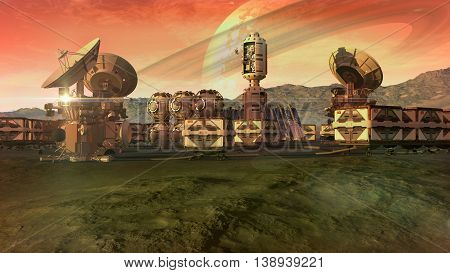 3D Illustration of a scientific settlement on an arid planet with pods, crate containers and satellite dishes for planetary exploration backgrounds.