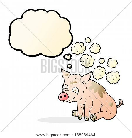 cartoon smelly pig with thought bubble