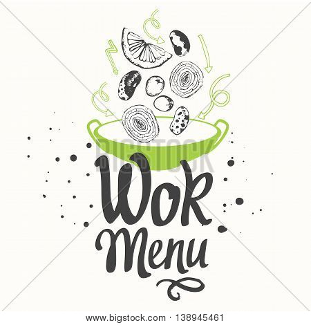 Seamless background with asian street food. Menu pattern.Sketch style. Sketch poster with wok pan. Funny labels asian fast food symbols.