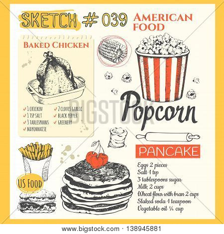 US food in the sketch style. Main course and snacks. American traditional products. Vector illustration of ethnic cooking: burger, baked chicken, french fries, popcorn, pancake.