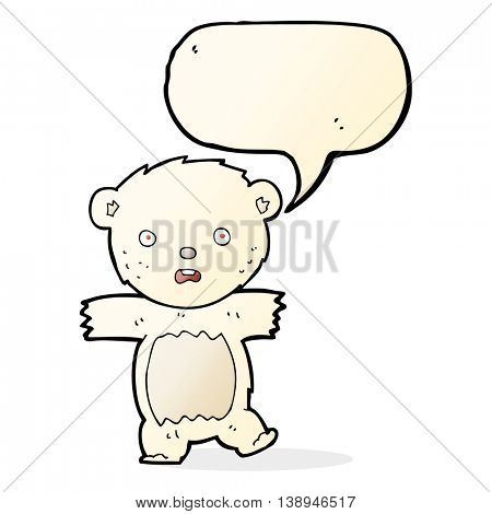 cartoon shocked polar bear cub with speech bubble