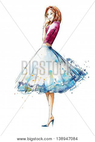 watercolor illustration, fashion sketch of young woman, hand drawn