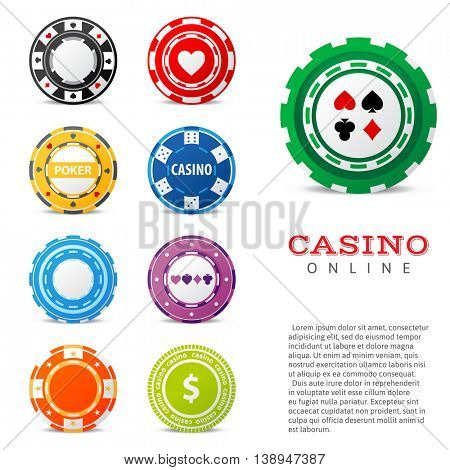9 highly detailed gambling chips over white background
