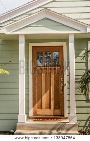 House Entrance Door With One Third Lite And Cape Hood