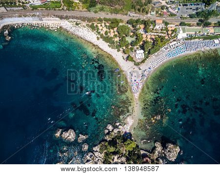 Top View of beach and island Isola Bella at Taormina, Sicily