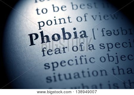 Fake Dictionary Dictionary definition of the word phobia.
