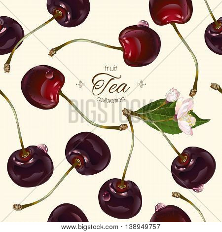 Vector cherry tea seamless pattern. Background design for tea, juice, natural cosmetics, sweets and candy with cherry filling, farmers marcet, health care products. Best for textile, wrapping paper.