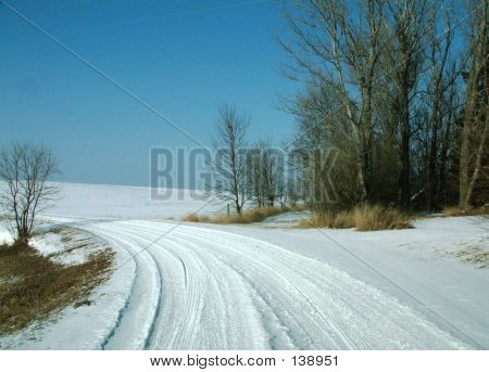 Snow-covered Country Road