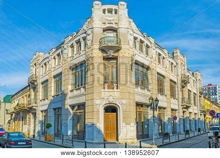 The corner mansion decorated with the fretworks built in Art Nouveau style located in the old town Batumi Georgia.