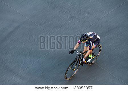 Single Biker In The Race