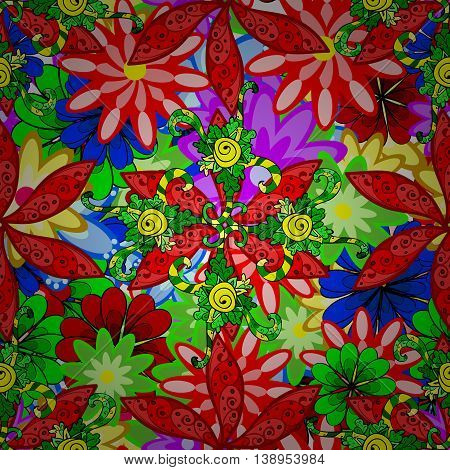 Vector vivid seamless abstract hand drawn pattern with plants.