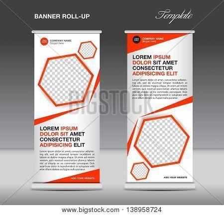 Orange Roll up banner template stand display advertisement flyer design polygon vector