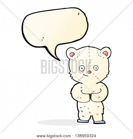 cartoon teddy polar bear cub with speech bubble