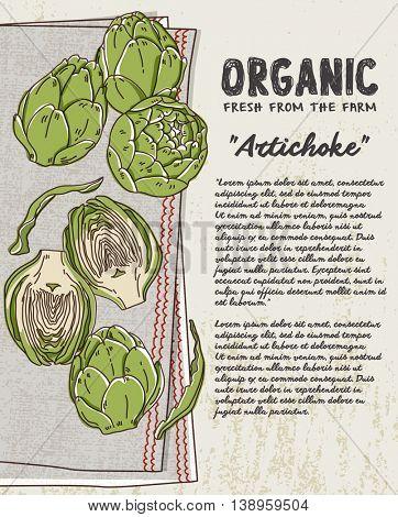 Fresh Artichoke on cotton napkin background. Fresh organic food