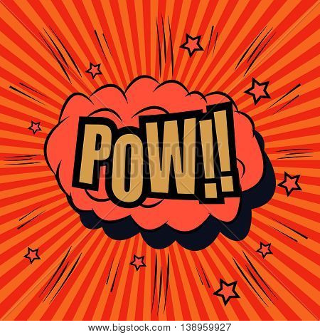 Pow comic bubble text. Pop art style. The cartoon with sound effects and funny spiral background. Template for web and mobile applications