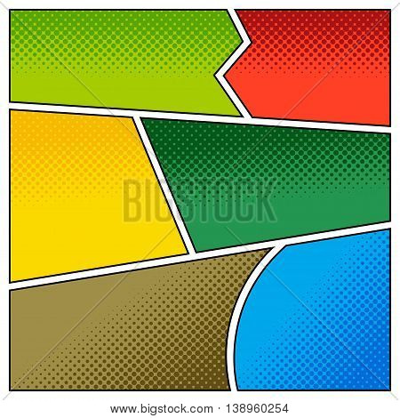Mock-up of comic backgrounds with halftone effects for strip book. Blank template background. Pop-art style collection.
