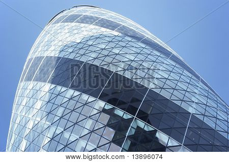 Glass Exterior Of Swiss Re Tower, London, England