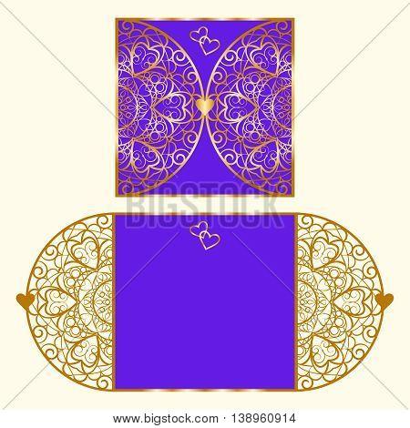 Wedding invitation or greeting card with mandala lace ornament.