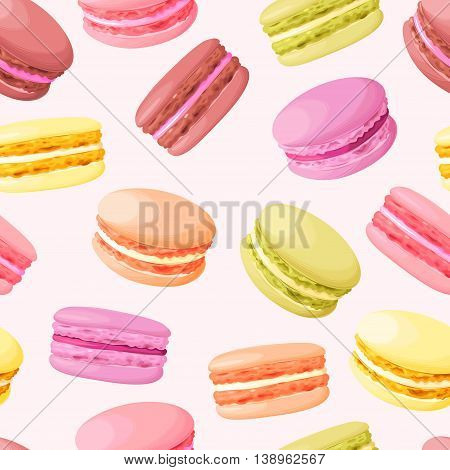 Pastel cute macarons vintage vector seamless background