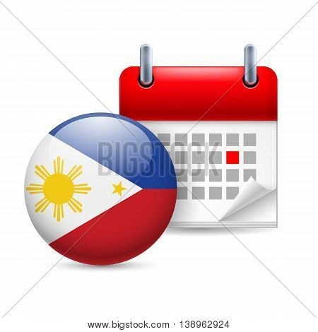 Calendar and round Filipino flag icon. National holiday in Philippines