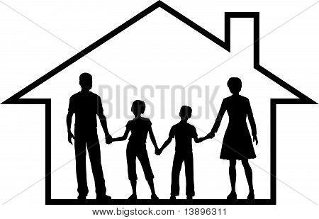 Family House Parents Kids Inside Safe Home
