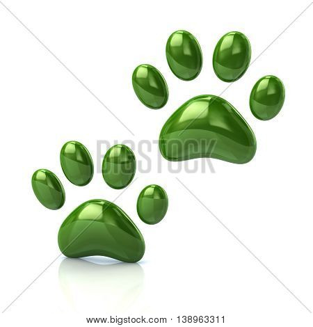 3D Illustration Of Two Cat's Green Paws