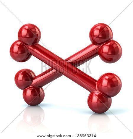 3D Illustration Of Crossed Red Bones