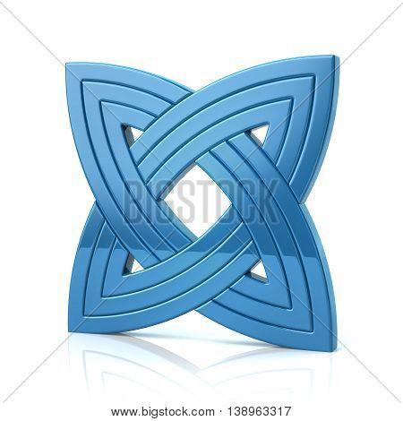3D Illustration Of Blue Basic Knot Design