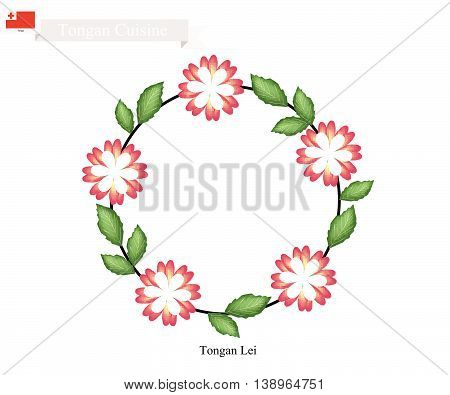 Tonga Flower Illustration of Tongan Lei or Tonga Garland Made From Heilala or Garcinia Sessili Flowers for Wedding Birthday and Graduation Celebrations.